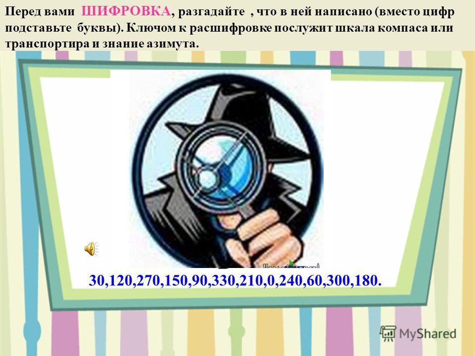 Перед вами ШИФРОВКА, разгадайте, что в ней написано (вместо цифр подставьте буквы). Ключом к расшифровке послужит шкала компаса или транспортира и знание азимута. 30,120,270,150,90,330,210,0,240,60,300,180. с ю