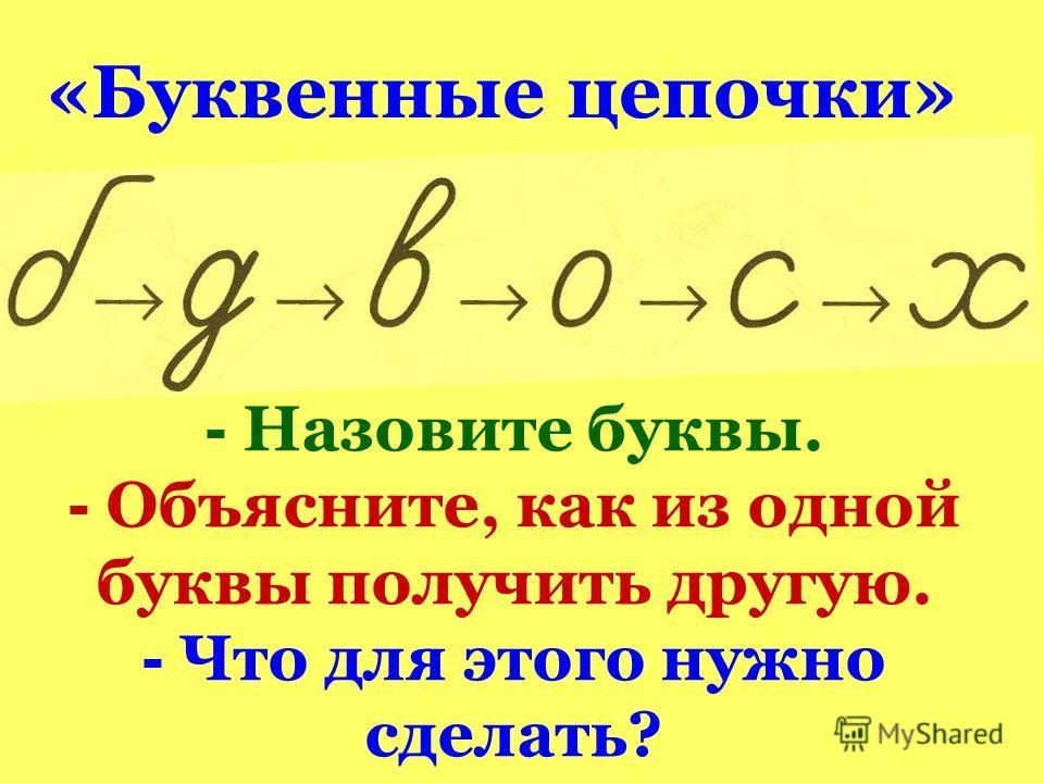 - Назовите буквы. - Объясните, как из одной буквы получить другую. - Что для этого нужно сделать? «Буквенные цепочки»