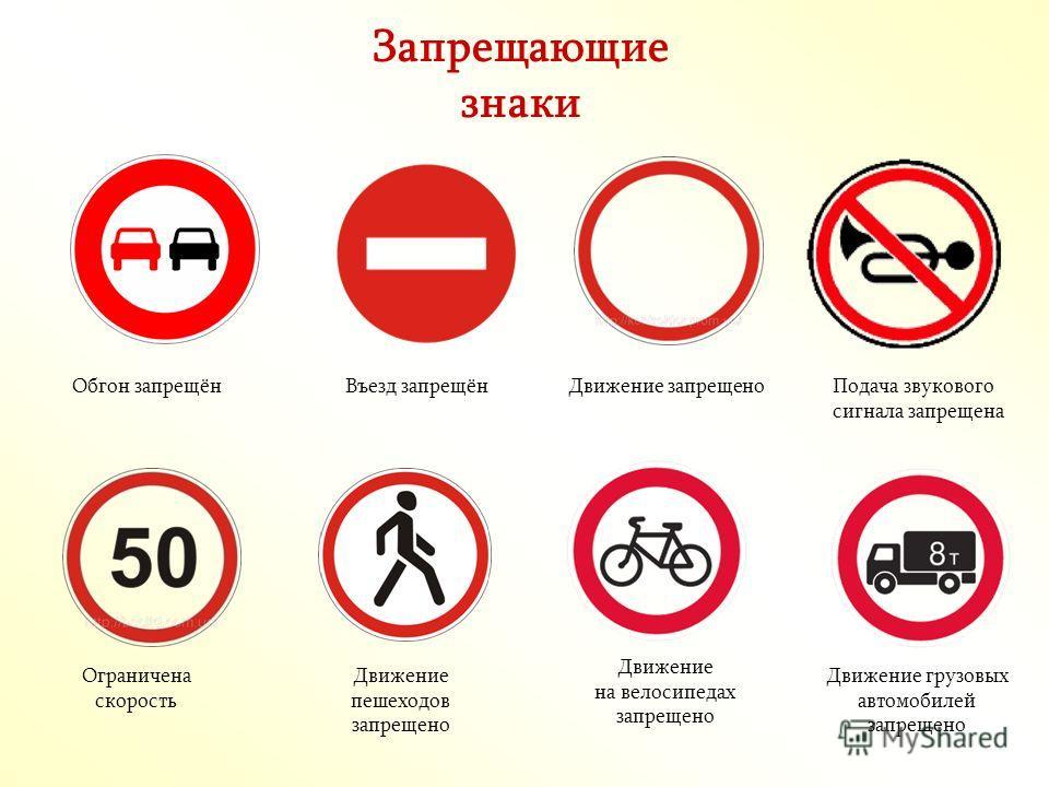 Запрещающие знаки Обгон запрещёнВъезд запрещёнДвижение запрещеноПодача звукового сигнала запрещена Ограничена скорость Движение на велосипедах запрещено Движение пешеходов запрещено Движение грузовых автомобилей запрещено
