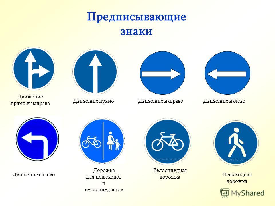 Предписывающие знаки Движение прямоДвижение направоДвижение налево Движение прямо и направо Велосипедная дорожка Пешеходная дорожка Дорожка для пешеходов и велосипедистов Движение налево
