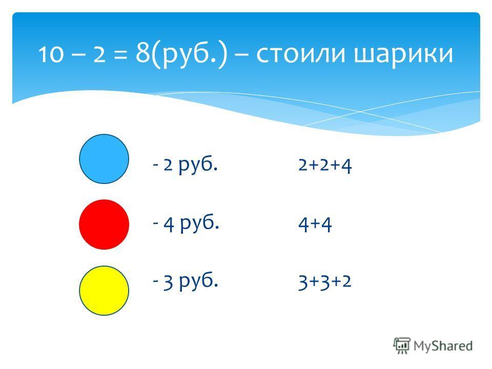 - 2 руб.2+2+4 - 4 руб.4+4 - 3 руб.3+3+2 10 – 2 = 8(руб.) – стоили шарики