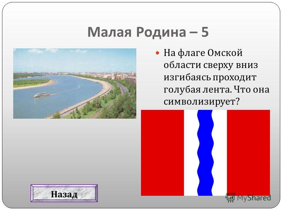 Малая Родина – 5 На флаге Омской области сверху вниз изгибаясь проходит голубая лента. Что она символизирует ? Назад