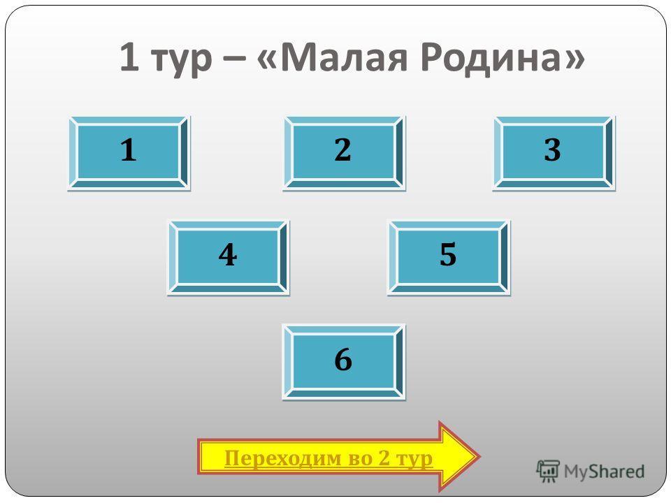 1 тур – « Малая Родина » 1 1 2 2 3 3 4 4 6 6 5 5 Переходим во 2 тур