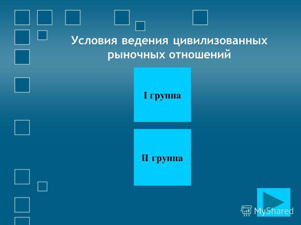 Условия ведения цивилизованных рыночных отношений I группа II группа