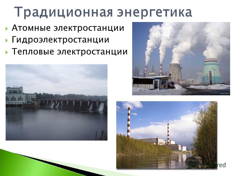 Атомные электростанции Гидроэлектростанции Тепловые электростанции