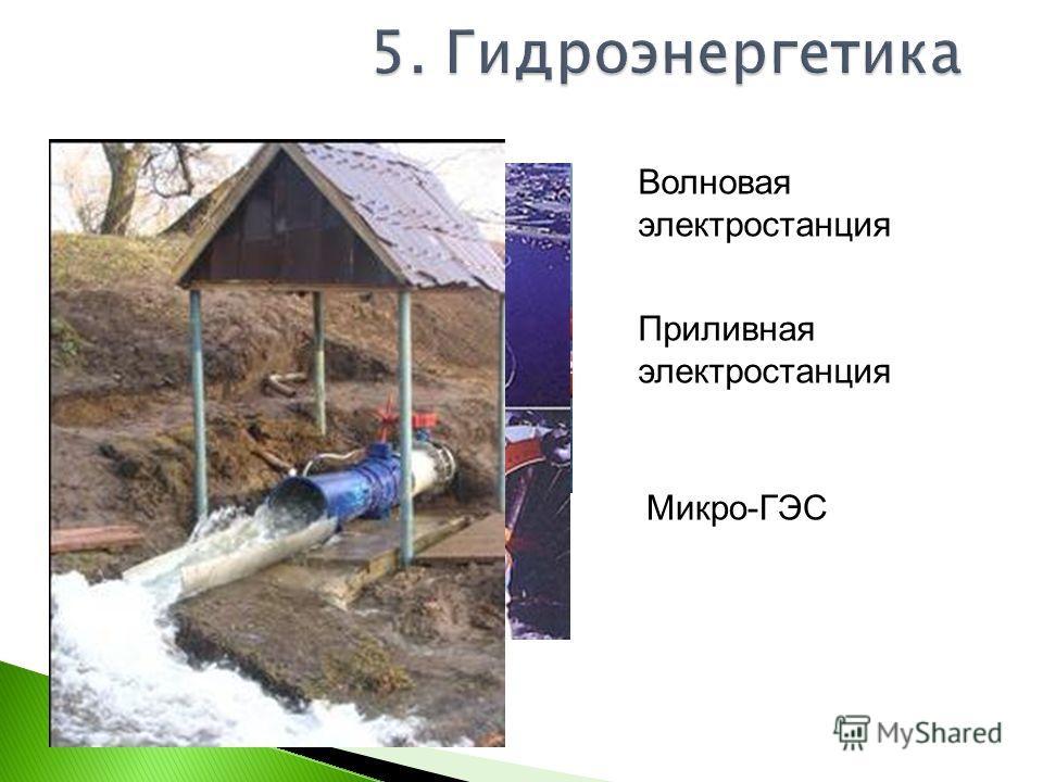 Волновая электростанция Приливная электростанция Микро-ГЭС