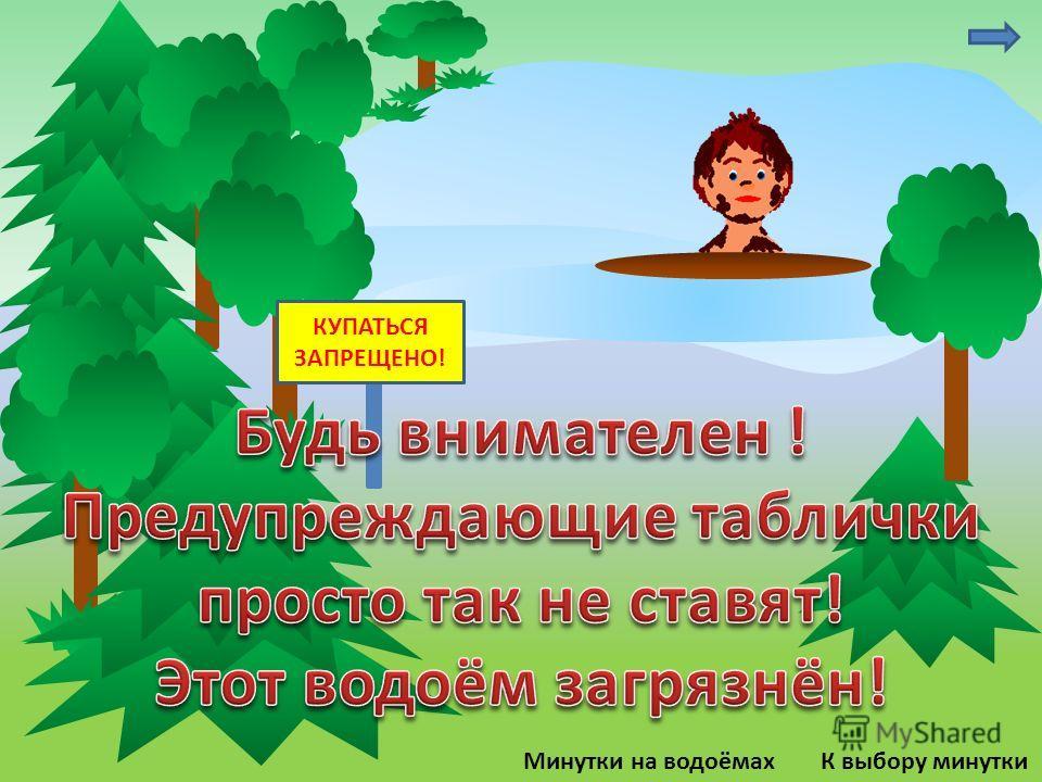 К выбору минуткиМинутки на водоёмах КУПАТЬСЯ ЗАПРЕЩЕНО!