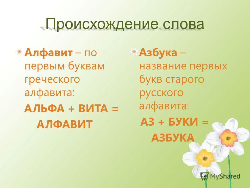 Происхождение слова Алфавит – по первым буквам греческого алфавита: АЛЬФА + ВИТА = АЛФАВИТ Азбука – название первых букв старого русского алфавита : АЗ + БУКИ = АЗБУКА