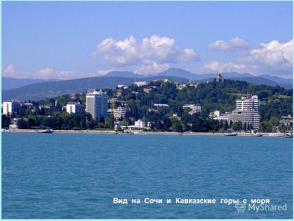 Вид на Сочи и Кавказские горы с моря