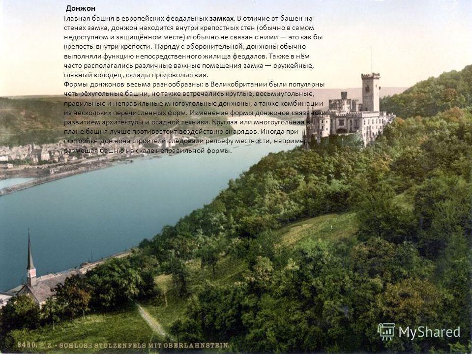 Донжон Главная башня в европейских феодальных замках. В отличие от башен на стенах замка, донжон находится внутри крепостных стен (обычно в самом недоступном и защищённом месте) и обычно не связан с ними это как бы крепость внутри крепости. Наряду с