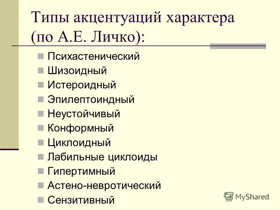 Типы акцентуаций характера (по А.Е. Личко): Психастенический Шизоидный Истероидный Эпилептоиндный Неустойчивый Конформный Циклоидный Лабильные циклоиды Гипертимный Астено-невротический Сензитивный