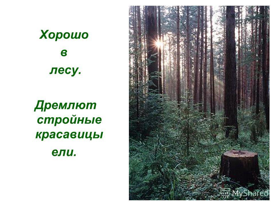И если хочешь наслаждений сладостных, то в лес наш отправляйся поутру. Солнце глазки открывает, лес притихший оживает, дверь лесную отворим, с лесом мы поговорим.