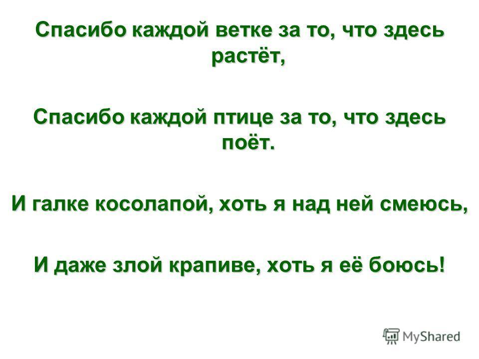 Лес наш добрый, лес могучий, Лес зелёный – друг наш лучший! Ты поможешь дом построить, Людям дашь тепло зимою. Летом нам подаришь ягод – Всем сластёнам хватит на год. В зной пошлёшь ты полю тучи, Лес зелёный – друг наш лучший!