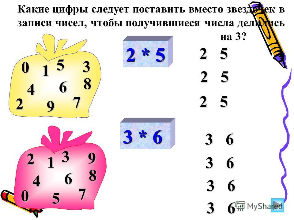 2 * 5 2 5 0 2 8 5 1 3 9 4 6 7 3 * 6 3 6 2 0 8 3 1 9 5 4 6 7 Какие цифры следует поставить вместо звездочек в записи чисел, чтобы получившиеся числа делились на 3?