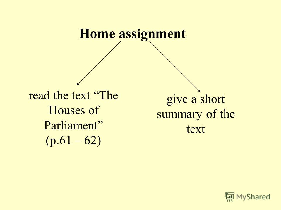 read the text The Houses of Parliament (p.61 – 62) Home assignment give a short summary of the text