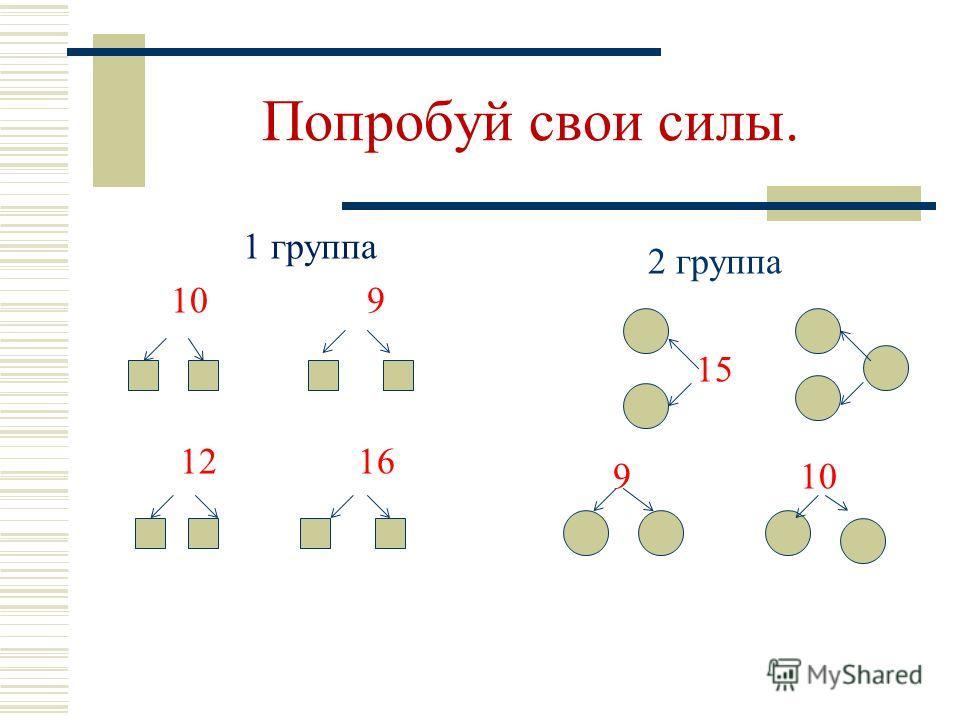 Сравнение чисел. 1 группа 8 и 9 7 и 2 14 и 4 2 группа 7 и 9 и 2 3 и 2 и 5 10 и 5 и 15