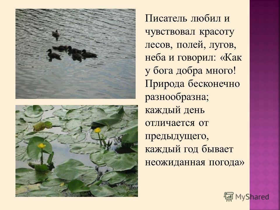 Писатель любил и чувствовал красоту лесов, полей, лугов, неба и говорил: «Как у бога добра много! Природа бесконечно разнообразна; каждый день отличается от предыдущего, каждый год бывает неожиданная погода»