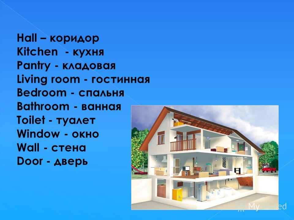 Hall – коридор Kitchen - кухня Pantry - кладовая Living room - гостинная Bedroom - спальня Bathroom - ванная Toilet - туалет Window - окно Wall - стена Door - дверь