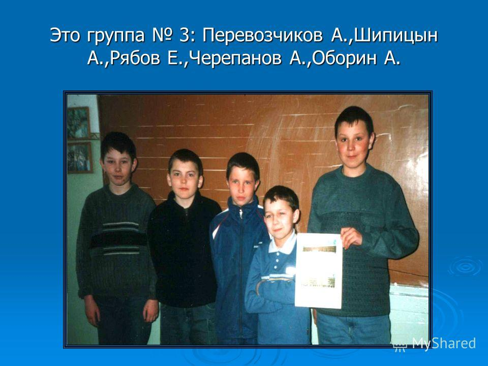 Это группа 3: Перевозчиков А.,Шипицын А.,Рябов Е.,Черепанов А.,Оборин А.