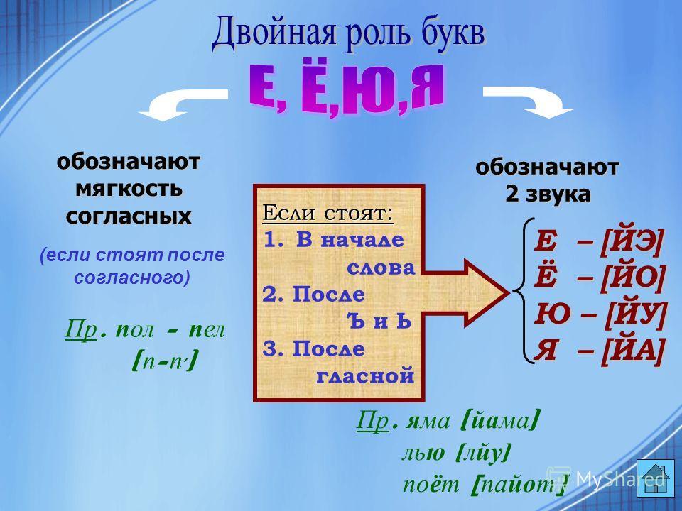 обозначают мягкость согласных обозначают 2 звука (если стоят после согласного) Пр. пол - пел [ п - п, ] Е – – – – [ЙЭ] Ё – – – – [ЙО] Ю – [ЙУ] Я – – – – [ЙА] Если стоят: 1.В начале слова 2. После Ъ и Ь 3. После гласной Пр. яма [ йама ] лью [ лйу ] по