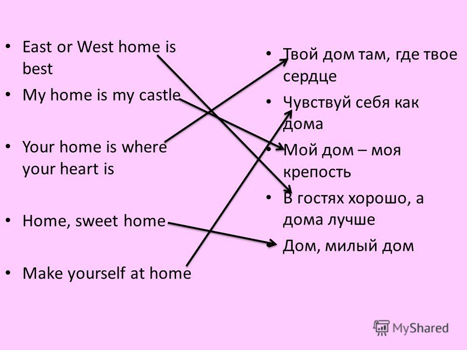 East or West home is best My home is my castle Your home is where your heart is Home, sweet home Make yourself at home Твой дом там, где твое сердце Чувствуй себя как дома Мой дом – моя крепость В гостях хорошо, а дома лучше Дом, милый дом