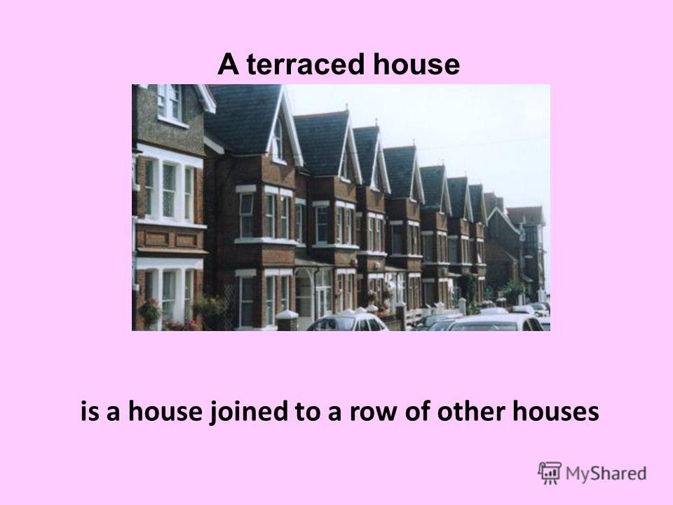 is a house joined to a row of other houses A terraced house