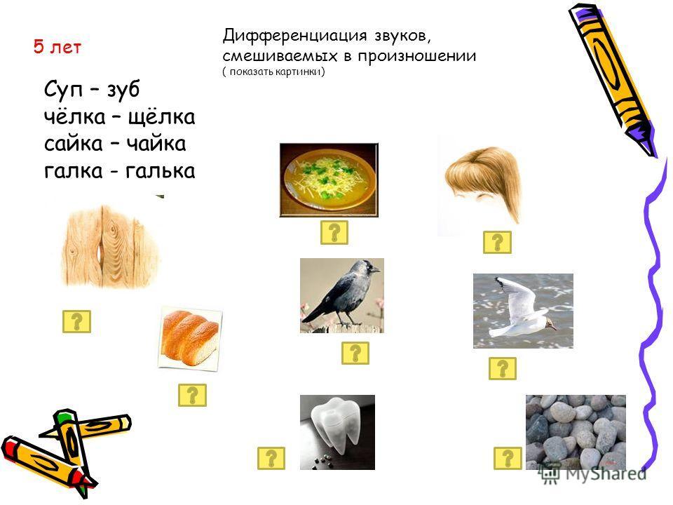 Суп – зуб чёлка – щёлка сайка – чайка галка - галька 5 лет Дифференциация звуков, смешиваемых в произношении ( показать картинки)