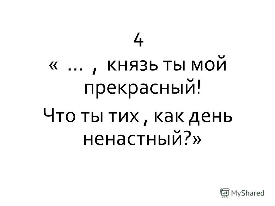 4 « …, князь ты мой прекрасный! Что ты тих, как день ненастный?»