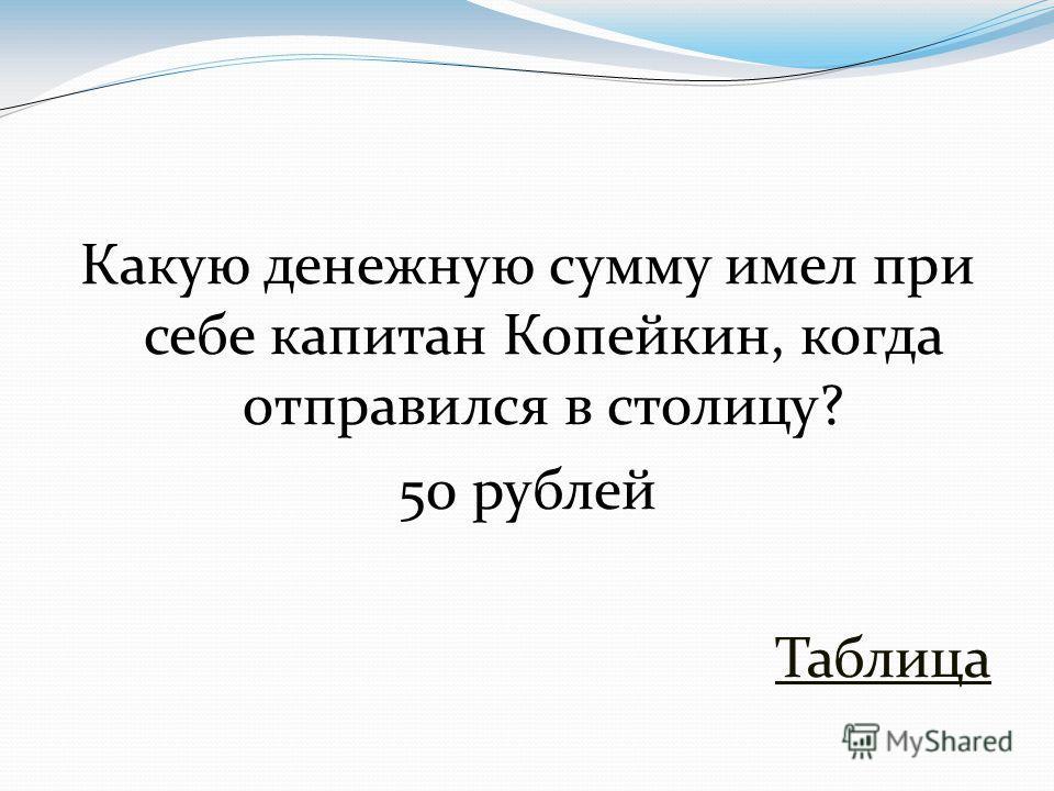 Какую денежную сумму имел при себе капитан Копейкин, когда отправился в столицу? 50 рублей Таблица