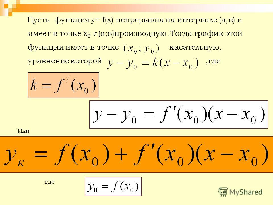 Пусть функция у= f(х) непрерывна на интервале (а;в) и имеет в точке х 0 (а;в)производную.Тогда график этой функции имеет в точке касательную, уравнение которой,где Или где
