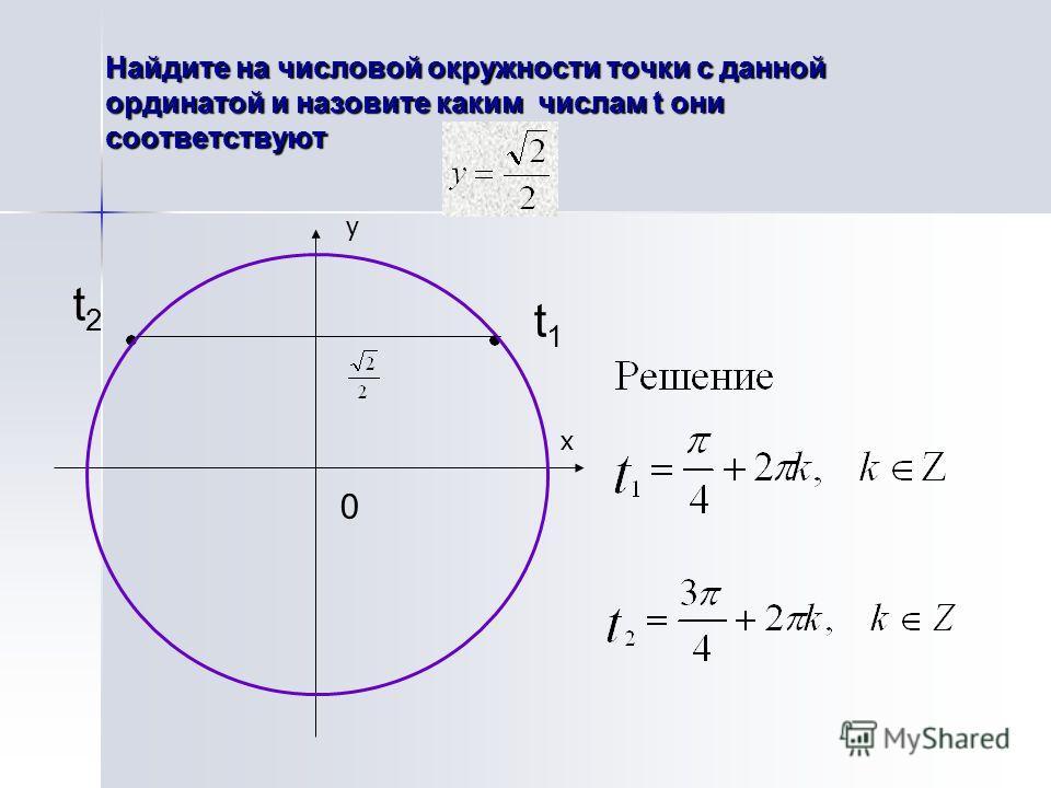 Найдите на числовой окружности точки с данной ординатой и назовите каким числам t они соответствуют t1t1 t2t2 0 х у