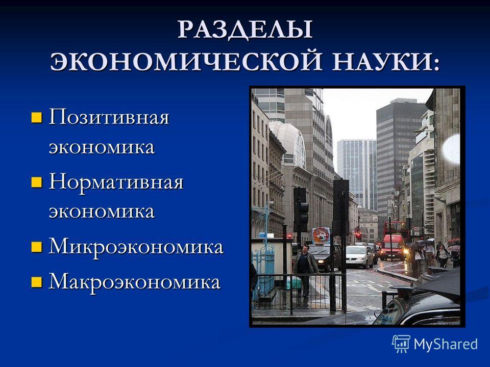 РАЗДЕЛЫ ЭКОНОМИЧЕСКОЙ НАУКИ: Позитивная экономика Позитивная экономика Нормативная экономика Нормативная экономика Микроэкономика Микроэкономика Макроэкономика Макроэкономика