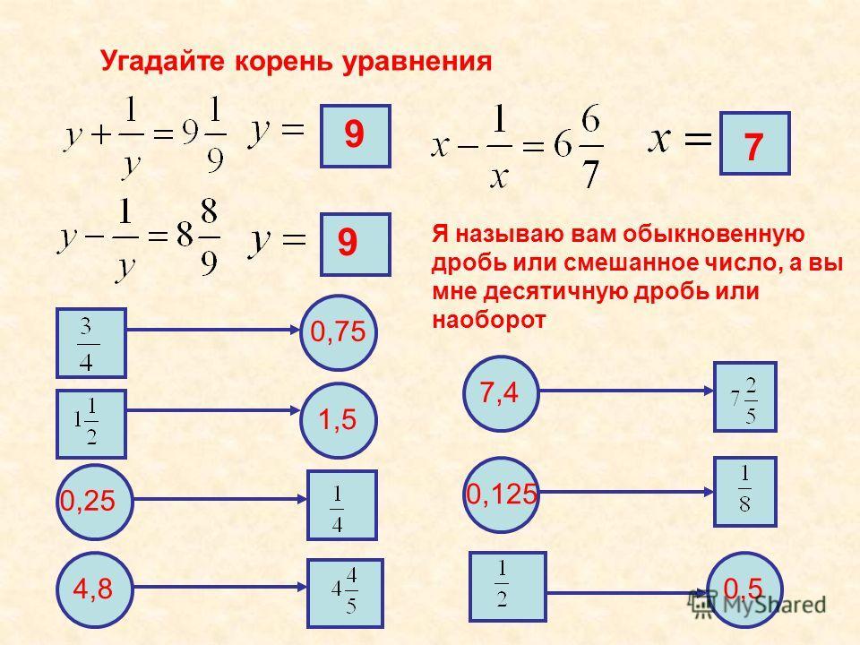 Угадайте корень уравнения 9 7 Я называю вам обыкновенную дробь или смешанное число, а вы мне десятичную дробь или наоборот 7 99 0,75 1,5 0,25 4,8 7,4 0,125 0,5