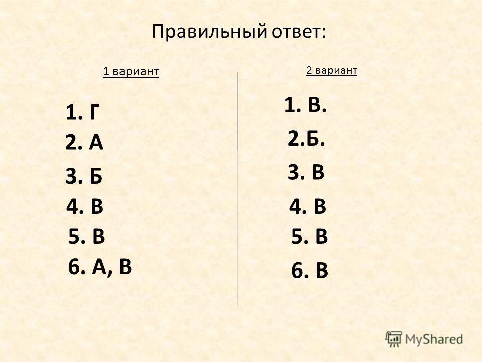Правильный ответ: 1. Г 1 вариант 2 вариант 1. В. 2. А 2.Б. 3. Б 3. В 4. В 5. В 6. А, В 6. В