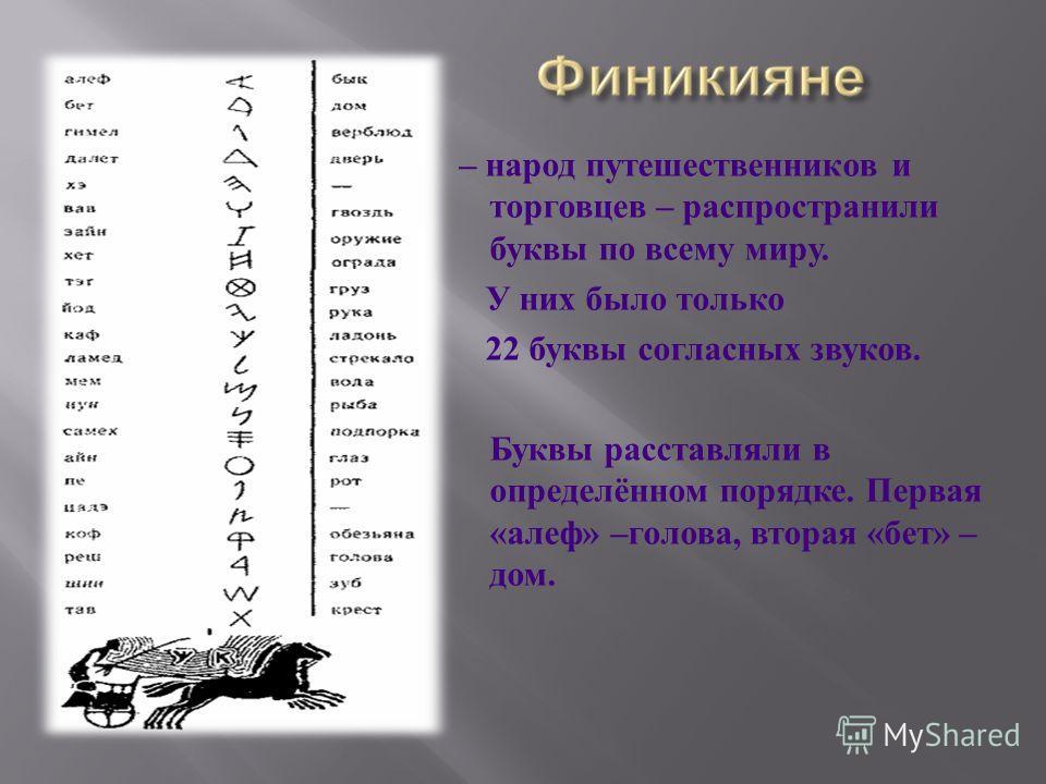 – народ путешественников и торговцев – распространили буквы по всему миру. У них было только 22 буквы согласных звуков. Буквы расставляли в определённом порядке. Первая « алеф » – голова, вторая « бет » – дом.