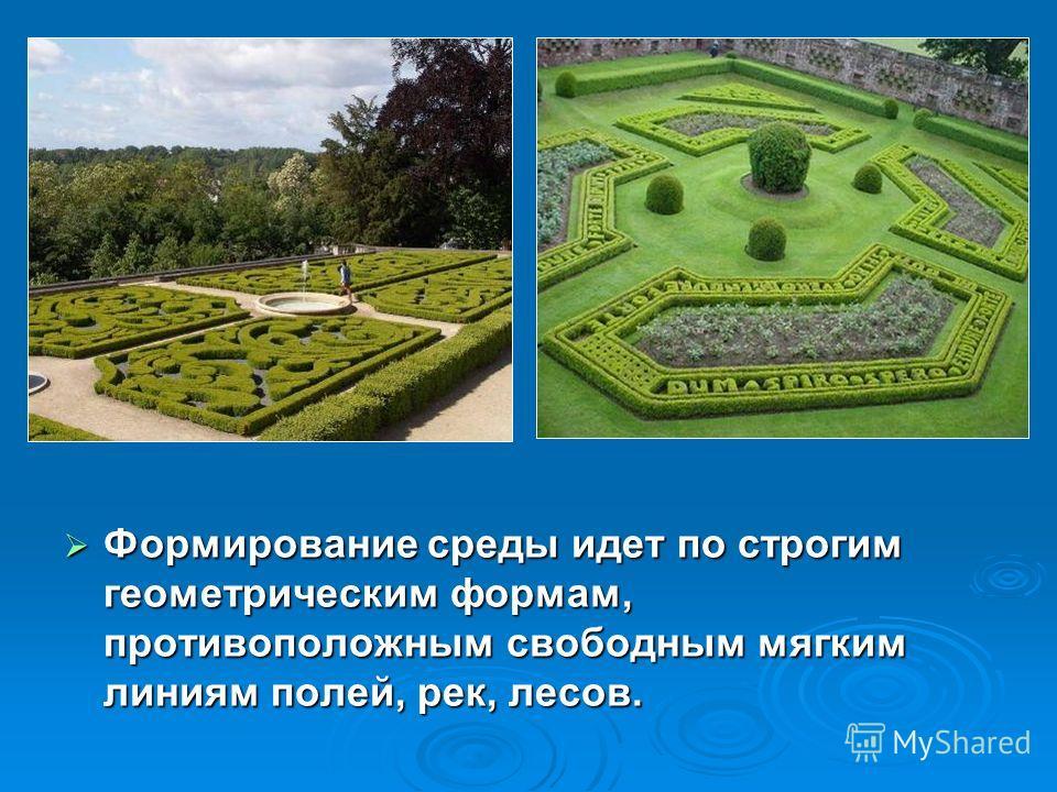 Формирование среды идет по строгим геометрическим формам, противоположным свободным мягким линиям полей, рек, лесов. Формирование среды идет по строгим геометрическим формам, противоположным свободным мягким линиям полей, рек, лесов.