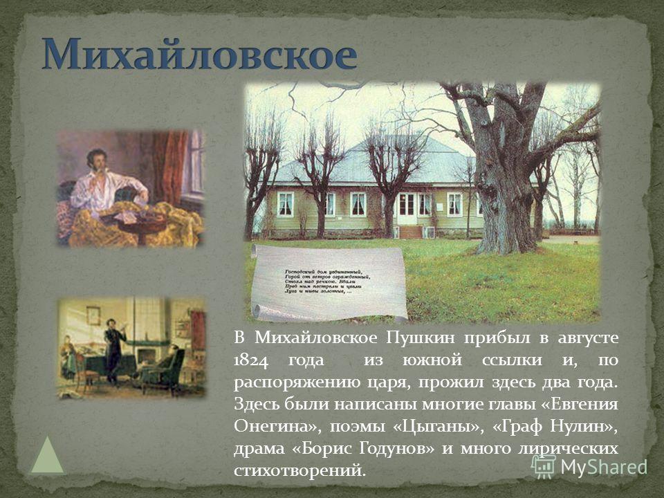 В Михайловское Пушкин прибыл в августе 1824 года из южной ссылки и, по распоряжению царя, прожил здесь два года. Здесь были написаны многие главы «Евгения Онегина», поэмы «Цыганы», «Граф Нулин», драма «Борис Годунов» и много лирических стихотворений.