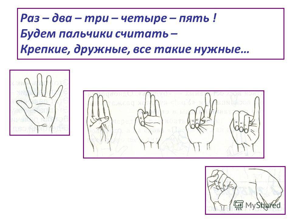 Раз – два – три – четыре – пять ! Будем пальчики считать – Крепкие, дружные, все такие нужные…