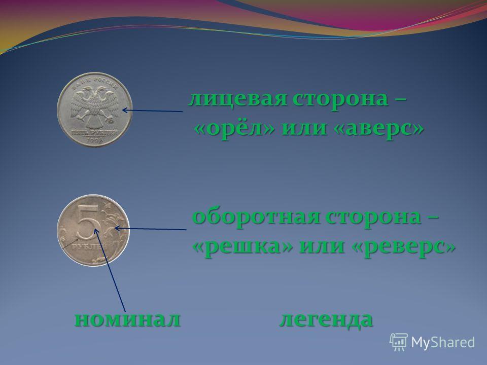 лицевая сторона – «орёл» или «аверс» оборотная сторона – «решка» или «реверс» номинал легенда