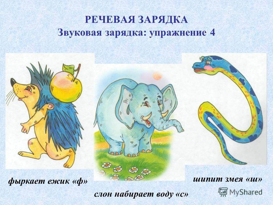 РЕЧЕВАЯ ЗАРЯДКА Звуковая зарядка: упражнение 4 фыркает ежик «ф» слон набирает воду «с» шипит змея «ш»