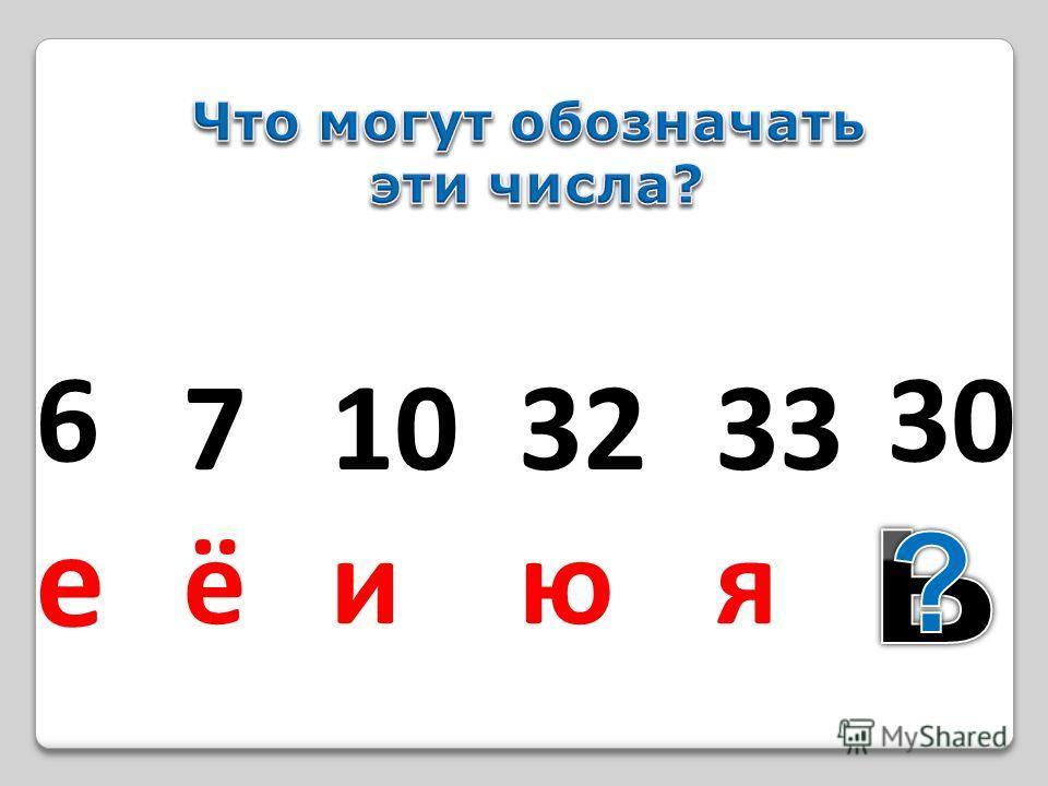 6е6е 7ё7ё 10 и 32 ю 33 я 30