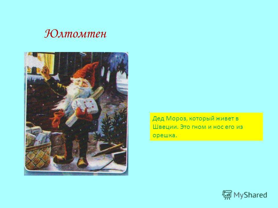 Юлтомтен Дед Мороз, который живет в Швеции. Это гном и нос его из орешка.