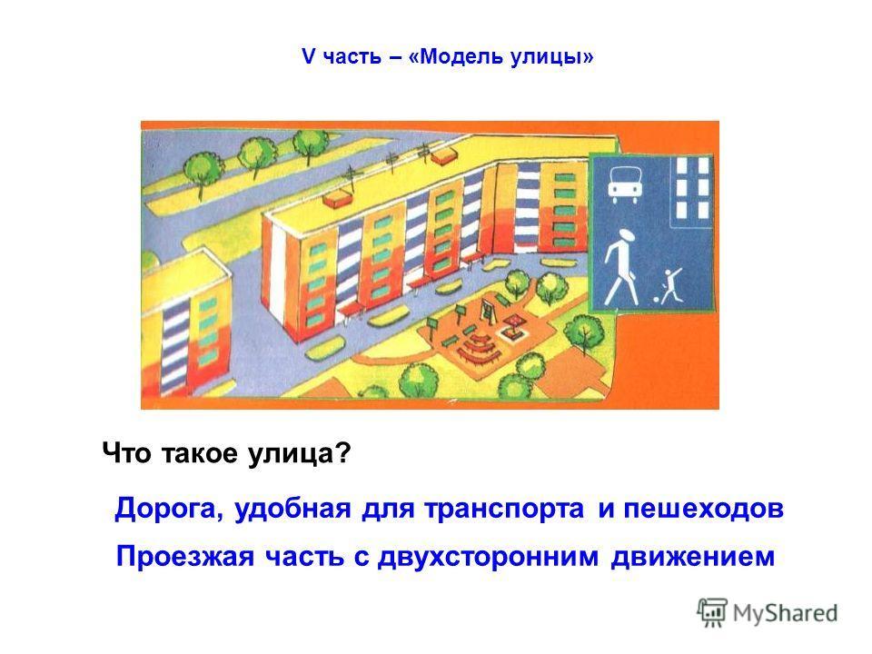 V часть – «Модель улицы» Что такое улица? Дорога, удобная для транспорта и пешеходов Проезжая часть с двухсторонним движением