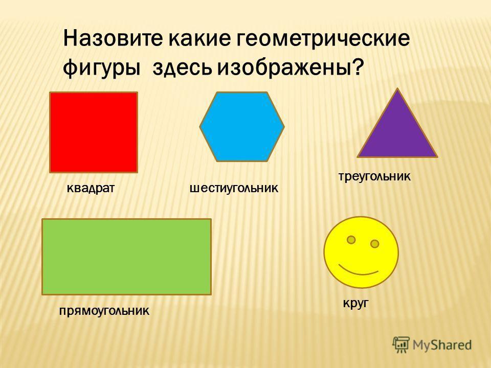 Назовите какие геометрические фигуры здесь изображены? квадратшестиугольник треугольник прямоугольник круг