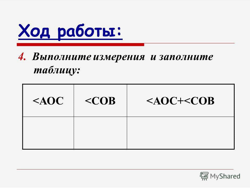 4. В ыполните измерения и заполните таблицу: