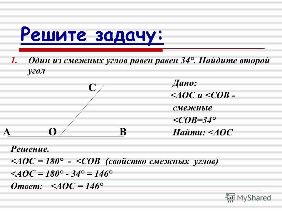 Решите задачу: 1.Один из смежных углов равен равен 34°. Найдите второй угол Дано: