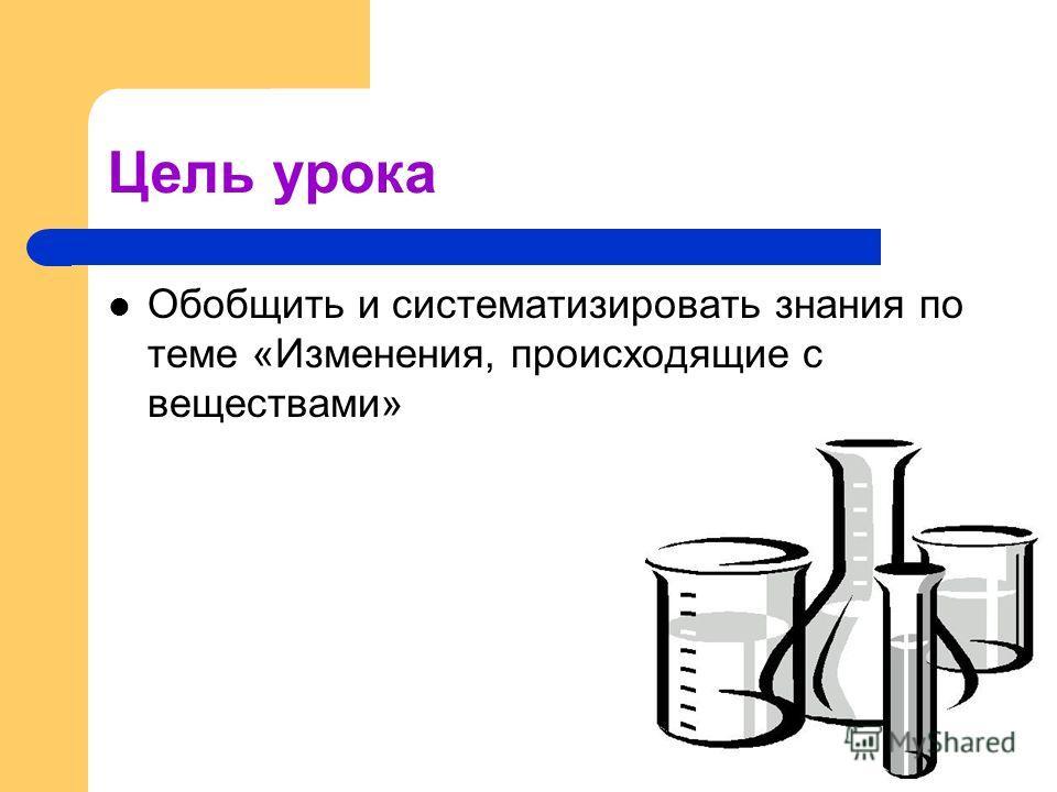 Цель урока Обобщить и систематизировать знания по теме «Изменения, происходящие с веществами»