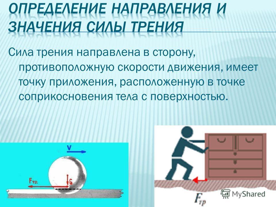 Сила трения направлена в сторону, противоположную скорости движения, имеет точку приложения, расположенную в точке соприкосновения тела с поверхностью.