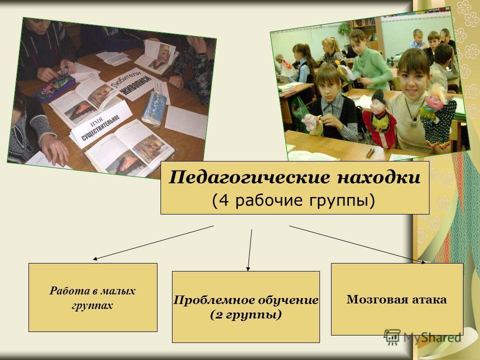 Работа в малых группах Проблемное обучение (2 группы) Мозговая атака Педагогические находки (4 рабочие группы)