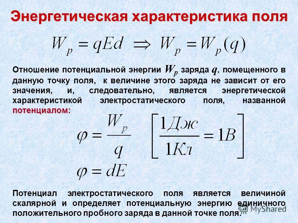 Энергетическая характеристика поля Отношение потенциальной энергии W p заряда q, помещенного в данную точку поля, к величине этого заряда не зависит от его значения, и, следовательно, является энергетической характеристикой электростатического поля,